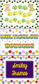 Paw Prints, Smiley Faces, & Multicolor Shapes Borders Frame Background Bundle