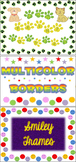 Paw Prints, Smiley Faces, & Multicolor Shapes Borders Fram