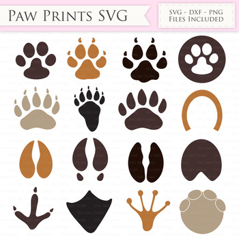 Paw print SVG Files - Animal, cat paw, dog paw print cut files