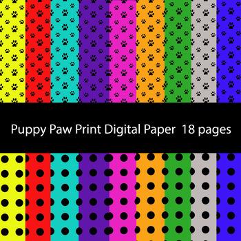 Paw print and Polka Dot Digital Backgrounds Digital Scrapbook Paper