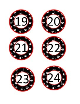 Paw print calendar/classroom numbers: Black/Red/White Woof!!