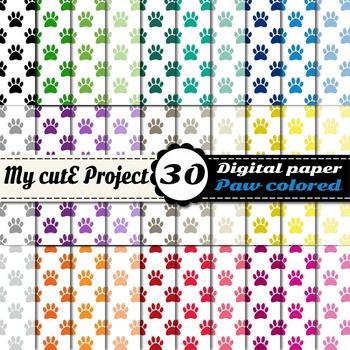 "Paw prints 4 - DIGITAL PAPER - Instant Download - Scrapbooking - A4 & 12x12"""
