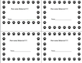 Paw-some Behavior Punch Card