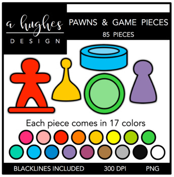 Pawns & Game Pieces Clipart {A Hughes Design}