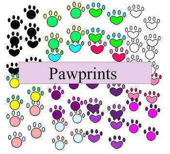 Pawprint Clip Art - 16 pieces - black line included