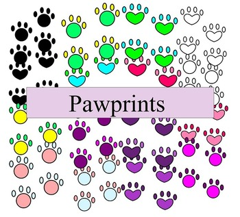 Pawprint Clip Art - 16 pieces - black line included