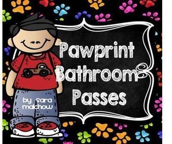 Pawprint Dog Cat bathroom passes