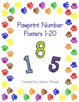 Pawprint Number Posters 1-20