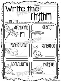 Paws & Claws Speech Rhythm Printable Worksheets