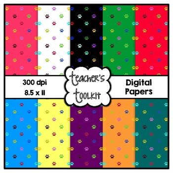 Paws Digital Background Papers {8.5 x 11} Clip Art CU OK