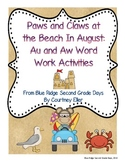 Paws and Claws At The Beach: Au and Aw Word Work Activities