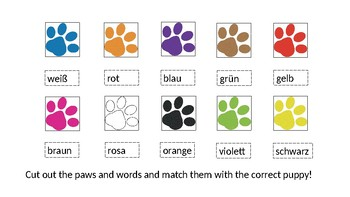 Paws and Puppies: German Colors Cut and Paste