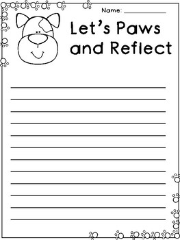 Paws and Reflect Differentiated Writing Paper - Reflection Writing