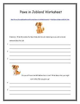 Paws in Jobland Worksheet by B | Teachers Pay Teachers