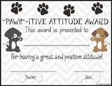 """""""Paws""""-itive Attitude Award"""