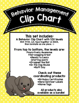 Paws-itive Behavior Dog Themed Clip Chart