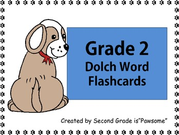"""Sight Words: Grade 2 """"Pawsome"""" Dolch Word Flashcards"""