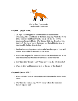 Pax by Sara Pennypacker Chapters 7-12 Reading Questions