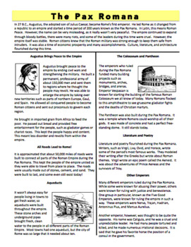 The Pax Romana - Reading Handout and Mini Book Activity - Ancient Rome