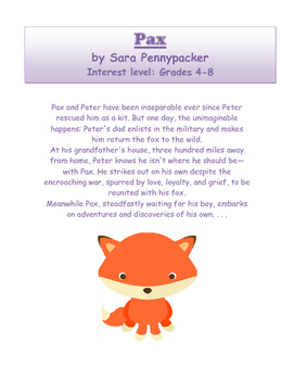 Pax by Sara Pennypacker - Novel Study Guide with Signposts