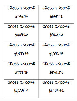 Pay Day! Show Me The Money! Gross Income and Net Income TEKS 5.10B