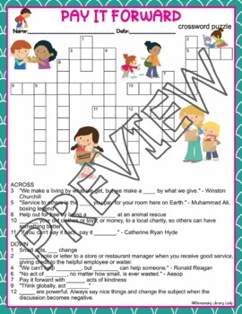 Pay It Forward Crossword Puzzle and Word Search Find Activities
