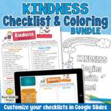 KINDNESS COLORING PAGES and KINDNESS CHECKLIST Character E