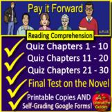 Pay It Forward Quiz and Test Novel Study Bundle