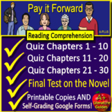 Pay It Forward Test and Quiz Novel Study Bundle