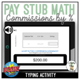 Pay Stub Math Calculating Commissions by % Typing Boom Cards