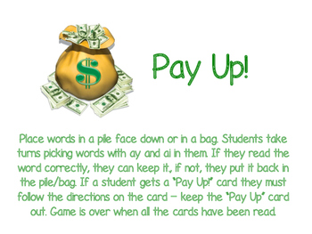 Pay Up! Words with ay and ai