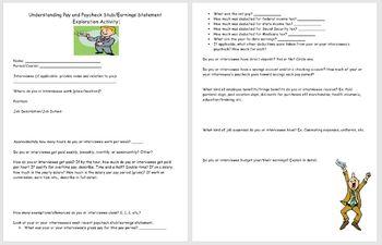 Paychecks- Understanding Paycheck Stub/Earnings Statement Exploration Activity