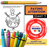Paying Attention - Sheet 9 - Whole Body Helps Brain Focus, Thinking Cap Coloring