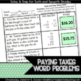 Paying Taxes Word Problems |  Solve and Snip® |  TEKS 7.4d
