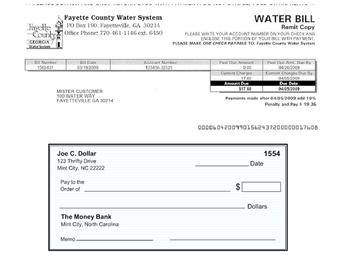 Paying Your Bills- Water Bill Worksheet