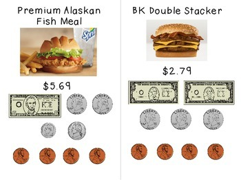 Paying at Burger King - Money Task Cards for Special Education