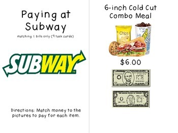Paying at Subway - Money Task Cards for Special Education