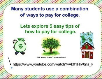 Paying for College Smartboard Lesson with activity Financial Literacy Money Pay