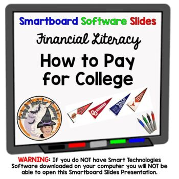 Paying for College Smartboard Lesson with activity Financi