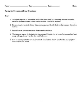 Paying for Government Discussion/Essay Questions