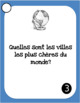 Pays, Continents, Villes - 30 French speaking prompt question cards - Geography