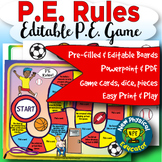 Pe Rules and Expectations Board Game for Physical Education, Elementary