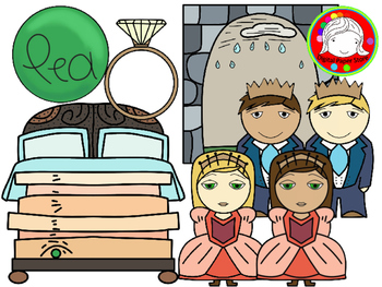 Pea in The Bed Fairy Tale Clipart Set (Personal & Commercial Use)