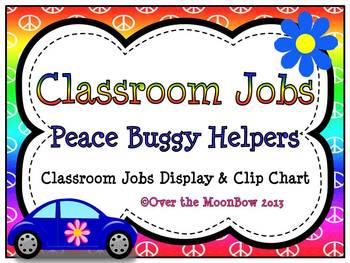 Peace Buggy Classroom Jobs Display & Clip Chart