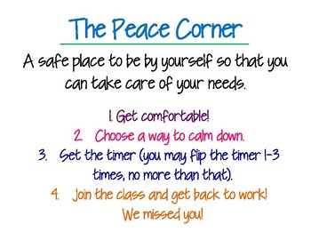 Peace Corner Rules Poster