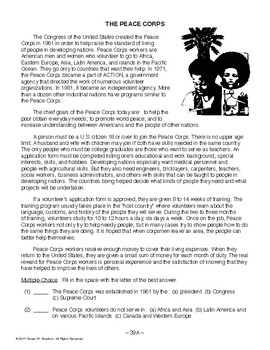 Peace Corps, RECENT WORLD HISTORY LESSON 39/45 Reading+Writing/Role-Play Assign.
