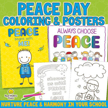Peace Day Coloring Pages, Posters & Note Paper - US Letter