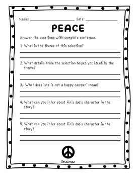Peace Fluency Passage & Comprehension Activities