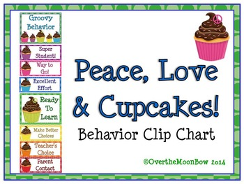 Peace, Love & Cupcakes! Themed Behavior Clip Chart