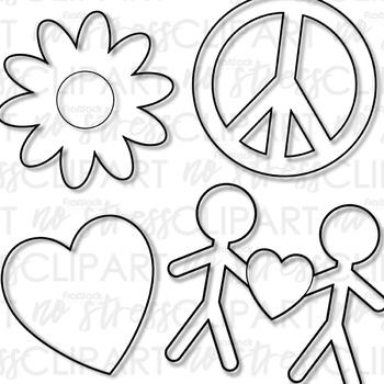 Peace Love Friends Clip Art (Digital Use Ok!)